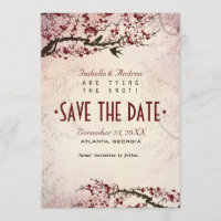 Cherry Blossom and Love Birds Save The Date