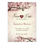 Cherry Blossom and Love Birds Save The Date 2 5x7 Paper Invitation Card