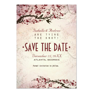 Cherry Blossom and Love Birds Save The Date Card