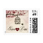 Cherry Blossom and Love Birds Save The Date Stamps