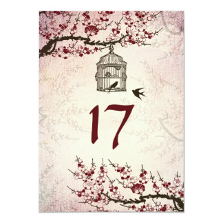 "Cherry Blossom and Love Birds Table Number Card 4.5"" X 6.25"" Invitation Card"