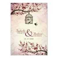 Cherry Blossom and love birds wedding invite