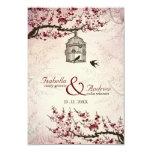 "Cherry Blossom and love birds wedding invite 3.5"" X 5"" Invitation Card"