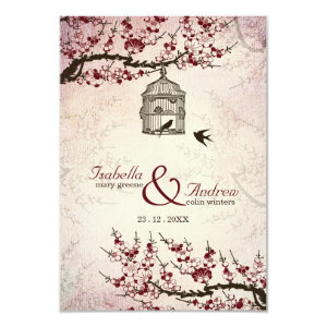 Cherry Blossom and love birds wedding invite 3.5