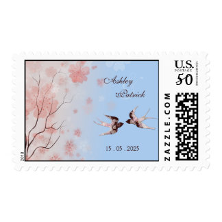 Cherry Blossom and Love Swallows  Wedding Postage