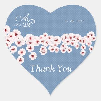 Cherry Blossom and Polka DotsThank You Wedding Sti Heart Sticker