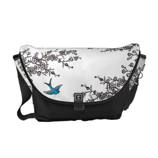 Cherry Blossom and Swallow Bag Commuter Bags