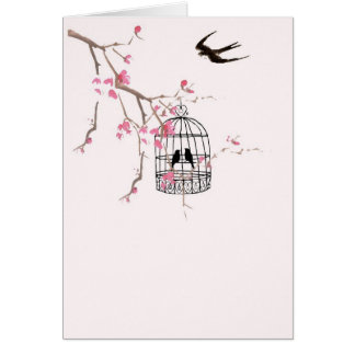 Cherry blossom and swallow greeting card