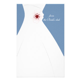 Cherry Blossom and Wedding Dress Blue Stationery