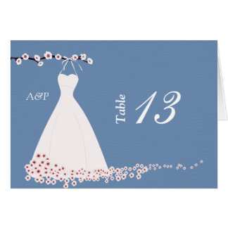 Cherry Blossom and Wedding Dress on  Blue Backgrou Stationery Note Card