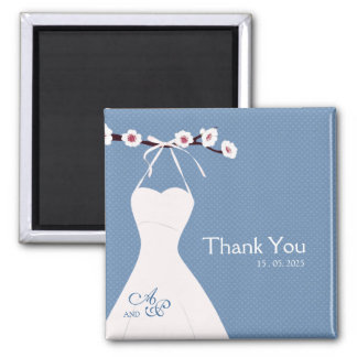 Cherry Blossom and Wedding Dress on Polka Dots Wed 2 Inch Square Magnet