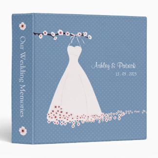 Cherry Blossom and Wedding Dress on Polka Dots Wed Binder