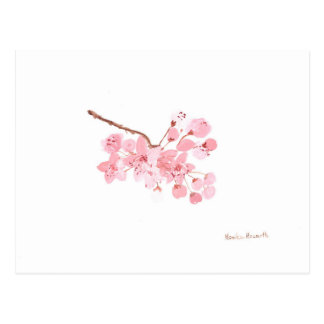 cherry blossom art postcard