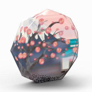 Cherry blossom asian mountain glass paperweight award