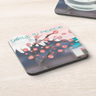 Cherry blossom asian mountain view drink coasters