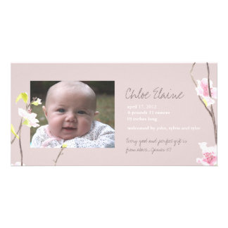 Cherry Blossom Baby Announcement Photo Card Template
