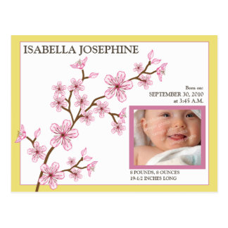 Cherry Blossom Baby Girl Birth Announcement yellow Post Cards
