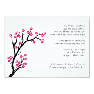 cherry blossom; baby shower 5x7 paper invitation card