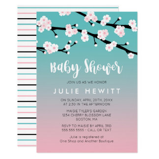 Cherry Blossom Baby Shower Card