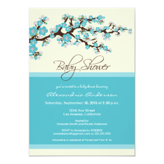 "Cherry Blossom Baby Shower Invitation (aqua) 5"" X 7"" Invitation Card"