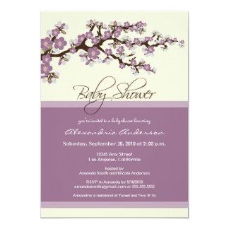 "Cherry Blossom Baby Shower Invitation (lavender) 5"" X 7"" Invitation Card"