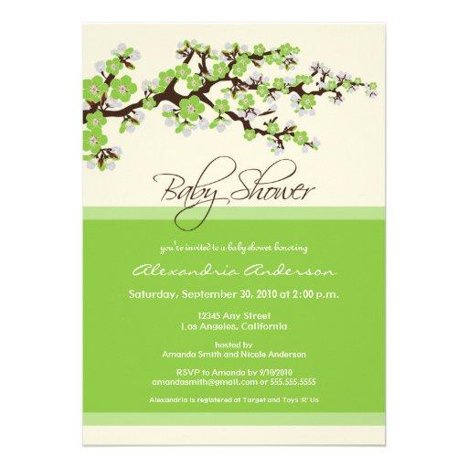 Cherry Blossom Baby Shower Invitation (lime)