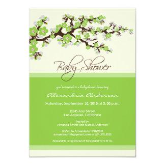 "Cherry Blossom Baby Shower Invitation (lime) 5"" X 7"" Invitation Card"