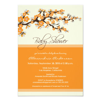 "Cherry Blossom Baby Shower Invitation (orange) 5"" X 7"" Invitation Card"