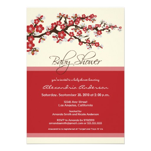Cherry Blossom Baby Shower Invitation (red)