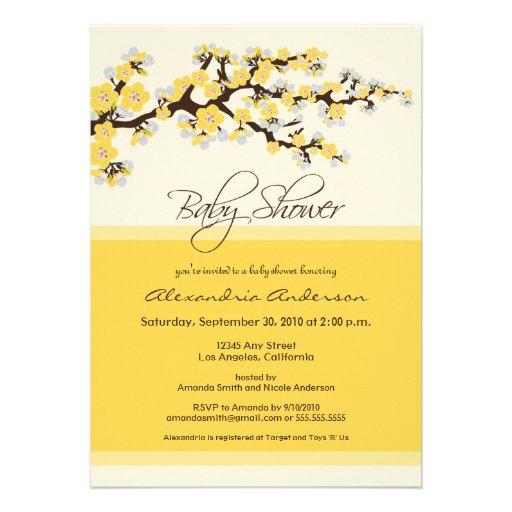 Cherry Blossom Baby Shower Invitation (yellow)