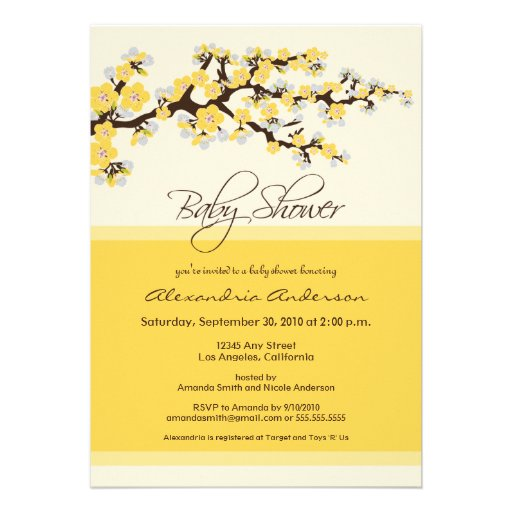 Personalized cherry blossom baby shower invitations cherry blossom baby shower invitation yellow filmwisefo