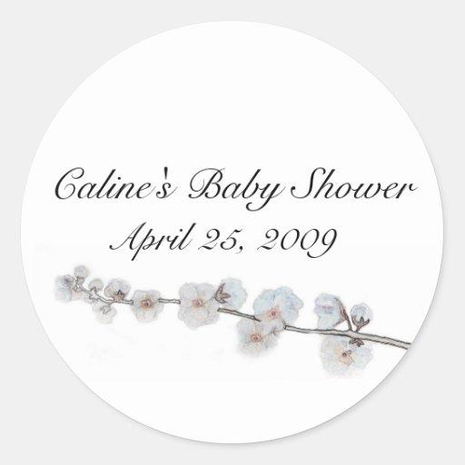 cherry-blossom, Baby Shower, Round Sticker