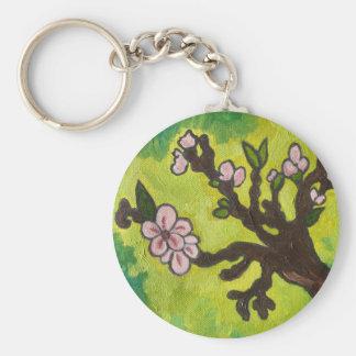 cherry blossom basic round button keychain