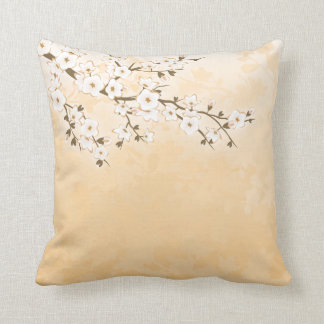 Cherry Blossom Beige Cream Asia Floral Throw Pillow