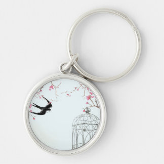 Cherry blossom bird birdcage keyring - unique gift Silver-Colored round keychain
