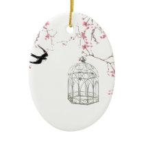 Cherry blossom, bird, birdcage - original, stylish ceramic ornament