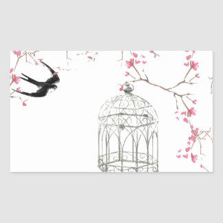 Cherry blossom, bird, birdcage - original, stylish rectangular sticker