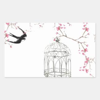 Cherry blossom, bird, birdcage - original, stylish rectangular sticker