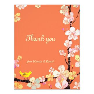 Cherry Blossom Bird Orange Wedding Thank You Card