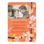 Cherry Blossom & Bird: Photo Save the Date 5x7 Paper Invitation Card