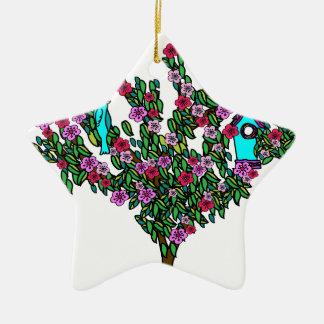 Cherry Blossom Bird Tree Monogram Love Peace Joy Ceramic Ornament