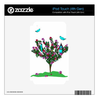 Cherry Blossom Bird Tree Monogram Love Peace Joy iPod Touch 4G Decals
