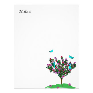 Cherry Blossom Bird Tree Monogram Love Peace Joy Letterhead