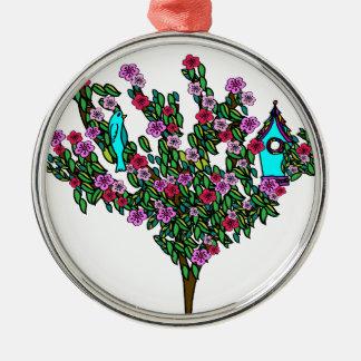 Cherry Blossom Bird Tree Monogram Love Peace Joy Metal Ornament