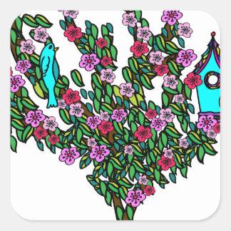 Cherry Blossom Bird Tree Monogram Love Peace Joy Square Sticker