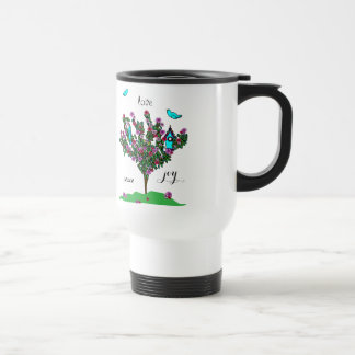 Cherry Blossom Bird Tree Monogram Love Peace Joy Travel Mug