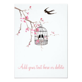 Cherry blossom, birdcage, bird card, invite