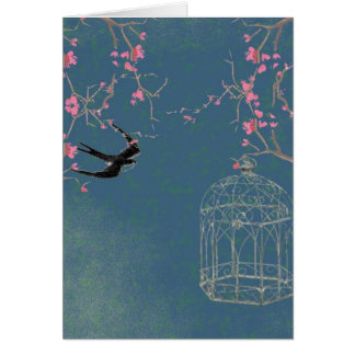 Cherry blossom, birdcage card, invite, birthday greeting card
