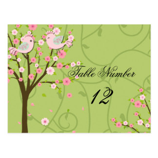 Cherry Blossom Birds Table Number Postcard