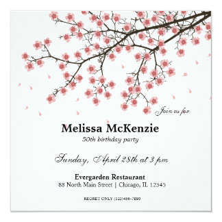 cherry blossom invitations announcements zazzle. Black Bedroom Furniture Sets. Home Design Ideas
